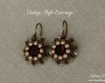 Earrings Tutorial - 8mm Beaded Bezel Swarovski Chatons - Vintage Style Earrings - PDF Pattern - Digital Download