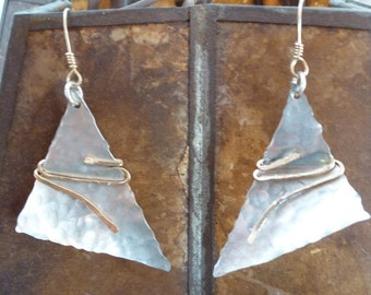 silver and gold mixed metal triangle earrings, handformed and hammered to be Tangled Triangle Earrings