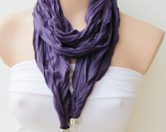 Purple Jewelry Scarf - Headband - Necklace - Combed Cotton Scarf-Infinity Scarf - New Season - Long Scarf