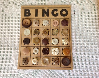 Vintage Bingo Card Embellished with Vintage Buttons