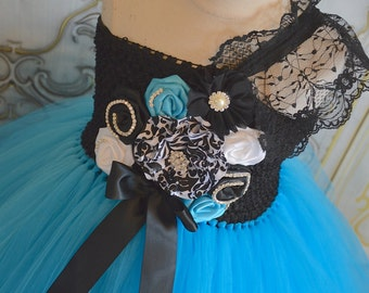 Turquoise Damask Flower girl tutu dress