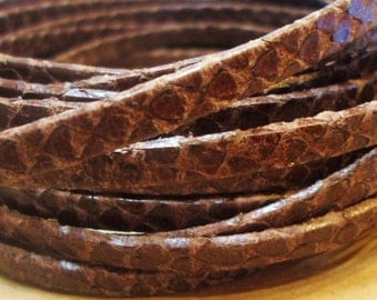 Pre Cuts, No Joins, Dark Brown 5mm Flat Snake Engraved, Best Quality Leather Cord