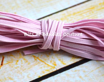 light pink skinny elastic by the yard - 5 yards