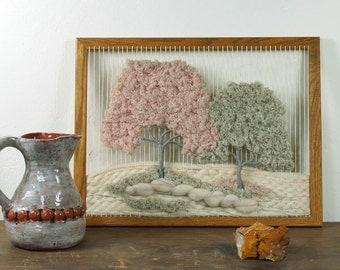 Handwoven Tree of Life / Vintage Textile Art / Fiber Art Weaving