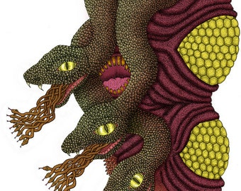 Snakes Colored- Pen & Ink Illustration