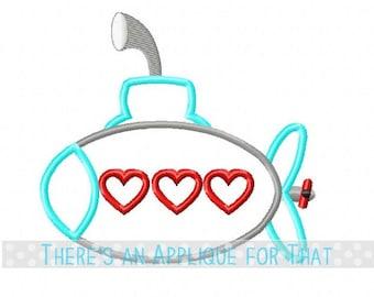 Valentine Submarine Applique Design
