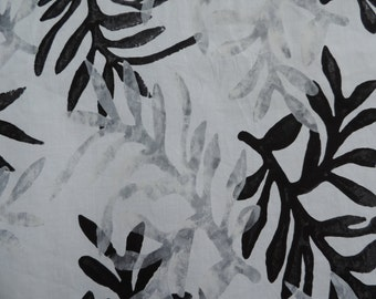Black & grey on while background batik leaf patterned fabric