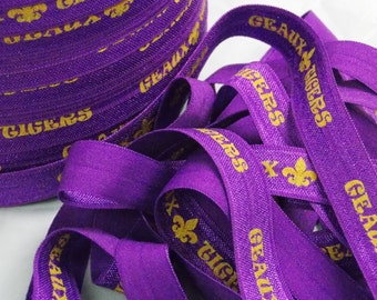 5 or 10 Yards GEAUX TIGERS with Fleur De Lis Purple and Yellow Gold Fold Over Elastic FoE DiY Hair Ties & Headbands LSU No Pull Elastic