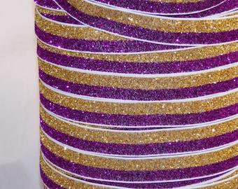 "5 or 10 Yards Purple & Yellow Gold GLiTTER Split FOE - 5/8"" Fold Over Elastic - DiY Hair Ties Headbands - LSU Tigers Colors No Pull Material"