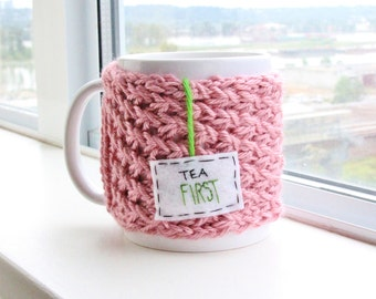 "Knit Coffee Mug Cozy, Coffee Cozy, Tea Cosy, Knitted Mug Warmer, Pink Mug Cozy with Felt Teabag Tag, ""Tea FIRST"" / Gift for Tea Lovers"