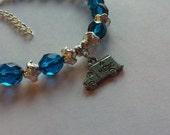 Blue Silver Glass Pewter Ambulance Beaded Bracelet