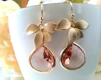 gold orchid flower with champagne crystal earrings,tear drop bridal earrings,gold peach earrings,bridesmaid gift,bridal earrings,bridesmaid