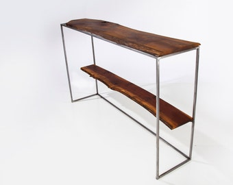 console table black walnut live edge sofa table hall way table narrow entry - Narrow Sofa Table