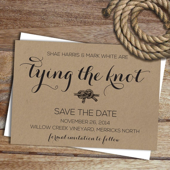 items similar to save the date invite tying the knot