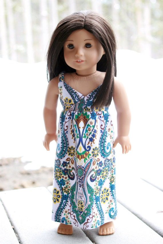 "The Carmen Dress, a Maxi Dress with Paisley Design, to fit American Girl and other 18"" dolls"