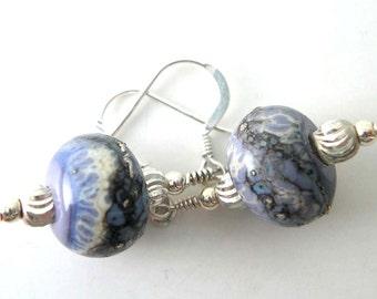 Lampwork Glass Earrings, Sterling Silver Earrings, Organic lampwork earrings, lilac blue earrings, handmade lampwork earrings.