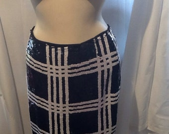 Black & White Sequined Mini Skirt