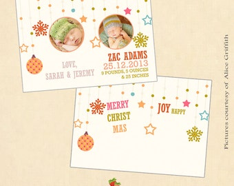 INSTANT DOWNLOAD 5x7 Christmas birth announcement card template - CA386