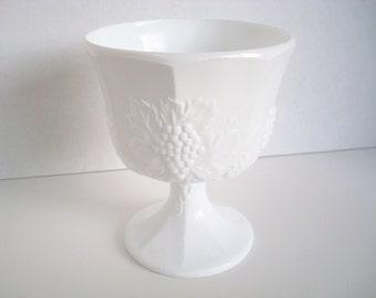 Vintage Milk Glass Vase - Bright White Milk Glass - Indiana Glass Grape Leaf Vase