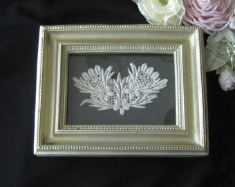 Altered Antique Lace, Under Glass in Small Gilt Frame