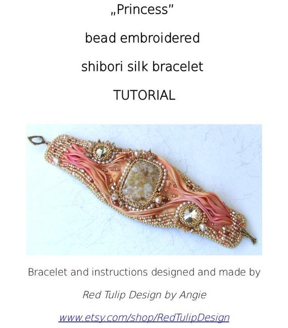 Beaded bracelet pattern shibori ribbon cuff by redtulipdesign