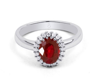 18ct White Gold Ruby & Diamond Halo Engagement Ring 0.16ct 2.5mm