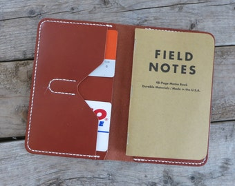 Personalized Leather Field notes Cover, Moleskine Cover, Leather Notes Cover, CHESTNUT