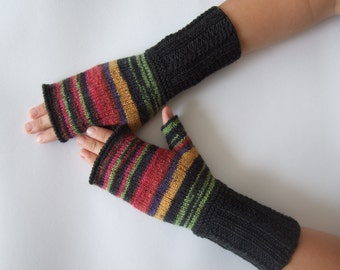 Handmade gray, yellow, greenish, red ( multicolor ) fingerless gloves, wrist warmers, fingerless mittens. Knitted of wool and polyamide.