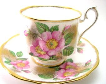 Royal Albert  Tea Cup And Saucer, White and gold Royal Albert  tea cup set,  Royal Albert pink flowers, English tea cup and saucer set..