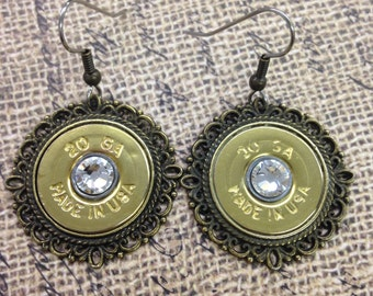Country Chic Brass 20 Gauge Earrings with Swarovski Crystal on Hypoallergenic Stainless Steel Ear Wires