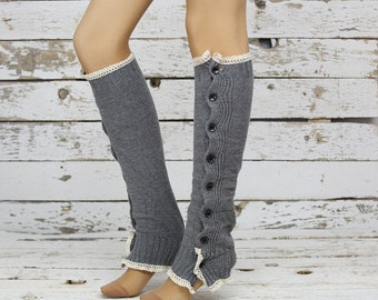 Gray cable knit slouchy open button down lace leg warmers knit lace leg warmers boot socks knee high socks birthday gifts christmas gifts