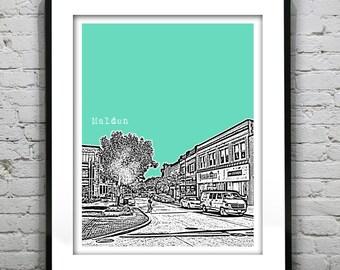 Malden Massachusetts Skyline Poster Art MA Version 3