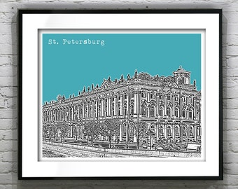 1 Day Only Sale 10% Off - Saint Petersburg Russia Poster Hermitage Building Item T1238