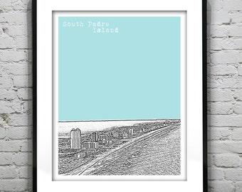 South Padre Island Texas Poster Downtown City skyline Art Print TX