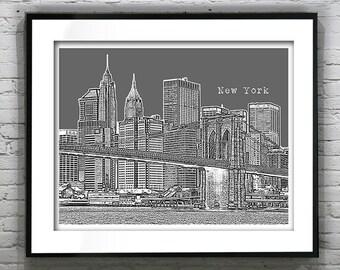 New York City Skyline Art Print Poster NYC Brooklyn Bridge Version 4 LANDSCAPE