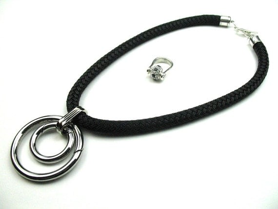 Chunky Statement Necklace in Black Boating Rope with Silver Circles Pendant
