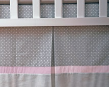 Custom Crib Skirt / Dust Ruffle fully lined with Pink Gray and White polka dot and Stripes cotton / Box Pleat skirt / Adjustable or gathered
