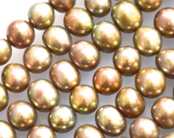 Grade AA High Luster Fresh Water Pearl Potato/Round Shape Metallic Green Copper Gold Champagne Color 6mm Full Strand  #F4-09