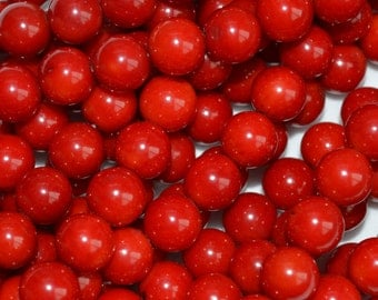 Red Coral Round Beads Size 8mm High Polished Full Strand