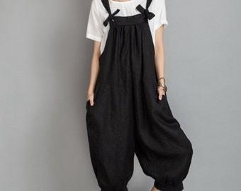 Wide Leg Pants Linen Overalls In Black #80600
