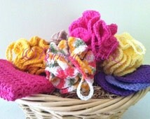 Bath Pouf Loofa Sponge Crochet Loofa Spa Puff Handmade Pink Yellow Oatmeal Multi Pastel