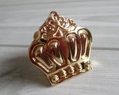 Gold Crown Knobs Dresser Knob Drawer Knobs Pulls Handles / Cabinet Knobs Pull Handle / Decorative Furniture Knob Brass Hardware