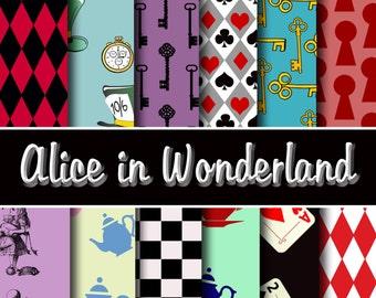 Alice in Wonderland Digital Paper Pack - Instant Download printable digital papers for scrapbooking, cardmaking, invites no.133