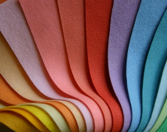"10 wool felt sheets, 100 percent wool, pastel, choose any colour, 100% wool felt, 20x30 wool felt sheets, 8"" x 12"" wool felt pastels"