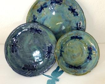 Blue Green Dragonfly Dinnerware Set, Handmade Ceramic Stoneware Pottery