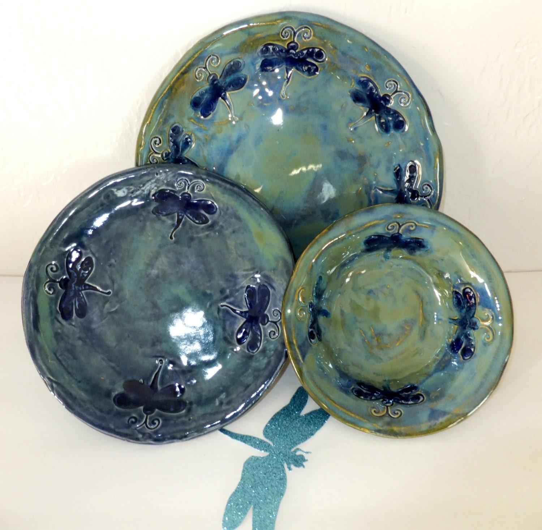 Blue Green Dragonfly Dinnerware Set Handmade Ceramic