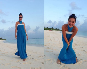 Color block Blue white halter  Beach evening long maxi dress all size