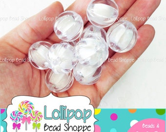 CLEAR 22mm Chunky Pumpkin Beads WHITE Corrugated Beads Melon Beads 6pcs Gumball Beads Acrylic Beads Ball Bubblegum Beads Bubble Gum Beads