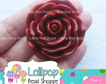 BURGUNDY Jumbo ROSE Beads 45mm Chunky Necklace Beads Dark Red Resin Flower Beads Large Rose Beads Plastic Bubble Gum Beads Bubblegum