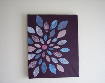Purple and Blue Flower Papercraft Canvas Art - mini